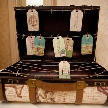 Trunk Place Card Display - Travel themed, vintage style