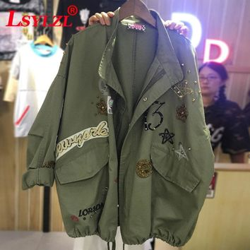 New 2018 Military Style Spring Jacket Women Plus Size XL-5XL Casual Embroidery Long Sleeve Loose Coats Female Jacket C97
