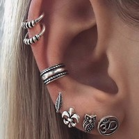 2018 Hot Sale Orecchini 7pcs Bohemian Steampunk Earring Set Antique Owl Leaf Clip Earrings Ear Cuff For Women Cartilage Earings