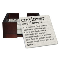 Engineer Definition Coaster Set - Sandstone Tile 4 Piece Set - Caddy Included