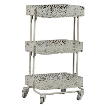 Linon Cream Metal Three Tier Cart