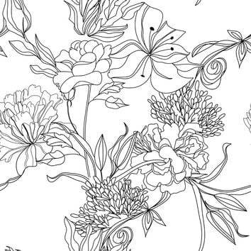 Sketch Floral Removable Wallpaper