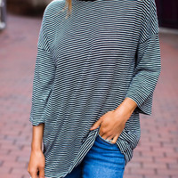 Black Striped Over-Sized Tee
