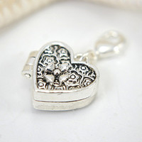 Heart prayer box charm locket silver color lobster claw clasp attachment magnetic