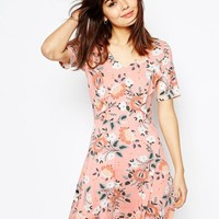 ASOS Skater Dress with Ruffle Detail in Pretty Floral Print at asos.com