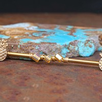 Gold Pineapple Industrial Barbell