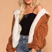 Snuggle Up Rust Bomber Jacket