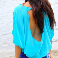 Ocean Spirit Open Back Top Turquoise by LycheeGrove on Etsy