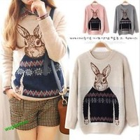 Hot Rabbit Print Knitted Sweater Jumper Tops Pullover Cardigan Knitwear5Pattern