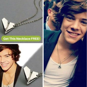 One Direction Harry Paper Airplane Silver Necklace
