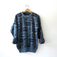 20% OFF SALE... Vintage 80s abstract sweater. Bill Cosby sweater. Oversized sweater.