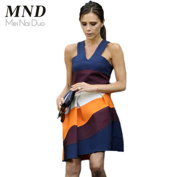 Women Summer Casual Patchwork Dresses Victoria Beckham Sleeveless Strippes Contrast Color A-line Vestidos 2015 Street Wear Dress