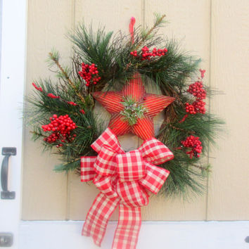 Winter Wreath-Rustic Christmas wreath-Christmas Star Wreath-Holiday Decor-Wreath with gingham bow-Star Door Hanger-Christmas Office Decor
