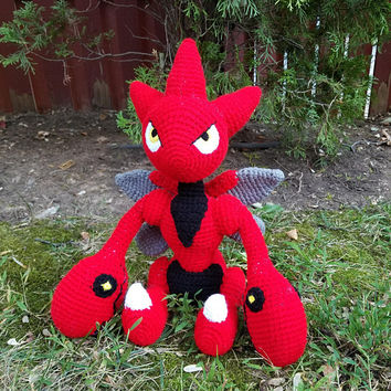 Pokemon Inspired: Scizor (Crochet Plushie/Plush Toy) in Normal or Shiny Colors - MADE TO ORDER!