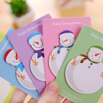 DCCKL72 1 Pcs Korean Stationery Kawaii Snowman Memo Pad Paper Sticky Notes Stickers Planner Christmas Gift Decoration School Supplies