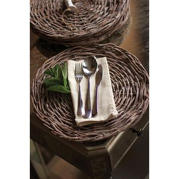 Set Of 4 Rustic Grey Twig Chargers