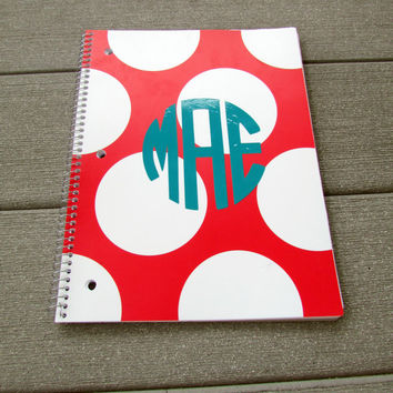 Monogrammed Polka Dot Notebook for Back to School, College, and Work!