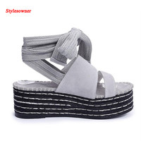 Stylesowner 2017 Ankle Lace Up Women Sandal Shoe Wedge Platform Black Gray Cow Suede Korean Style Muffin Heel Sandal