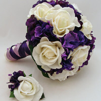 Bridal Bouquet Real Touch White Roses & Purple Hydrangea Real Touch Rose Groom's Boutonniere