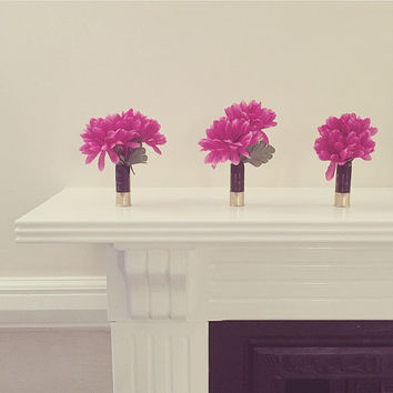 Charity Item | Upcycled shotgun cartridge vase with pink faux flowers wedding table decoration