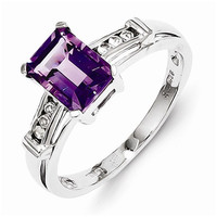 Sterling Silver Rhodium Plated Amethyst Square Cut Ring