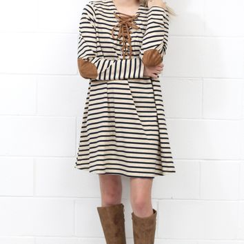 Stripe My Suede Elbow Patch + Lace Up Neckline Dress {Taupe+Navy}