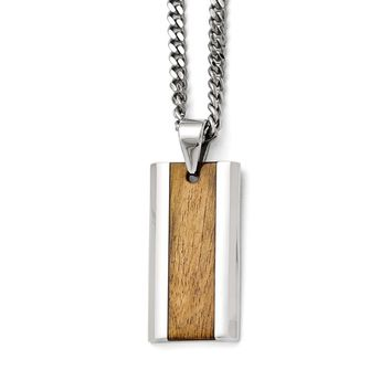 Men's Stainless Steel Polished Wood Inlay Enameled Necklace