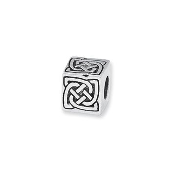 Celtic Block Charm in Silver for 3mm Charm Bracelets