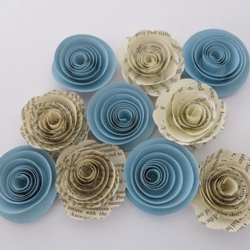 "Pastel Blue and aged Book page paper flowers, 10 piece set, 1.5"" roses, light blue wedding theme, baby shower decor, boy nursery art, sky"