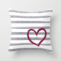Red Heart on Shiny Silver Stripes Throw Pillow by Psychae