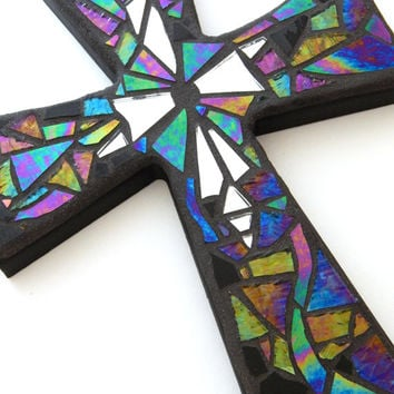 "Mosaic Wall Cross, Iridescent + Textured Glass + Silver Mirror, Handmade Stained Glass Mosaic Design, 12"" x 8"""