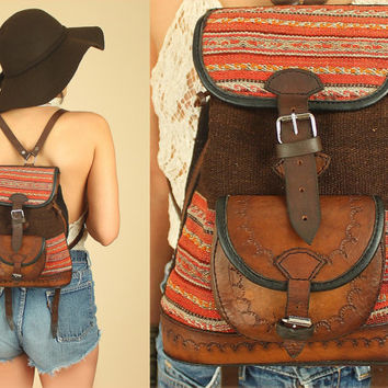 ViNtAgE 90's Hand Woven Leather Tooled Bucket Bag Backpack // Bolivian Artisan Handbag Purse // Festival BoHo Bohemian
