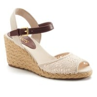 Chaps Damara Women's Slingback Crochet Espadrille Wedge Sandals (White)