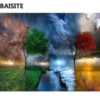 BAISITE Frameless DIY Oil Painting Pictures By Numbers On Canvas Wall Pictures Wall Art For Living Room Home Decoration PH3006