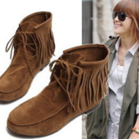 New flat Boots with Increased Short Boots Fringed Tassel Boots