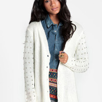 Time's Up Studded Cardigan - $65.00 : ThreadSence, Women's Indie & Bohemian Clothing, Dresses, & Accessories