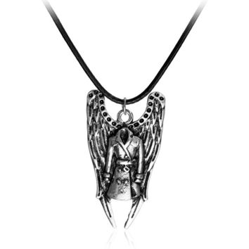 Supernatural Inspired Pendant Necklace Coat and Angel wing charm necklace Vintage Silver Pendant Jewelry For Men And Women