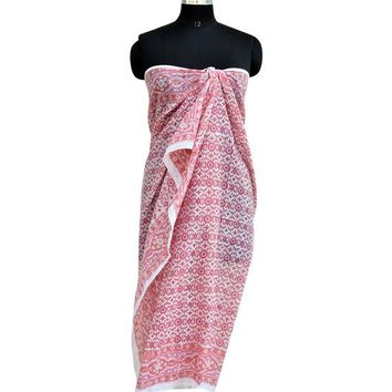 Cotton Block Print Sarong, Beach Cover Up Pareo, Party wear Scarf - Gift For Her