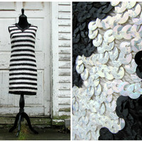Great For A Halloween Costume or A Christmas Gift/ Jaw Dropping 20s Black White Flapper Sequin Cocktail Party Costume Dress