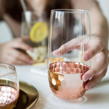 Rose Gold Hexagon Plating Glass Cup