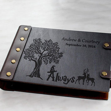 Always Personalised Wedding Guest Book Custom Guest book Harry Potter Guest Book Alternative Wooden Wedding Guest Book Wood Guestbook Ideas