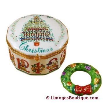 12 DAYS OF CHRISTMAS W/ REMOVABLE PORCELAIN WREATH LIMOGES BOX