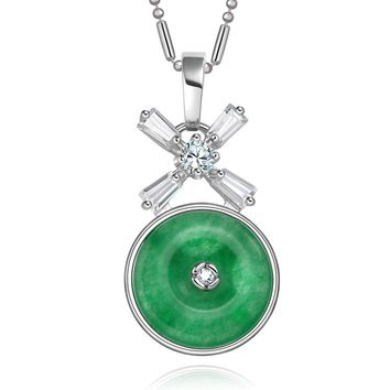 Small Cute Lucky Donut Charm Silver-Tone Baguette Fancy Crystal Green Simulated Jade Necklace