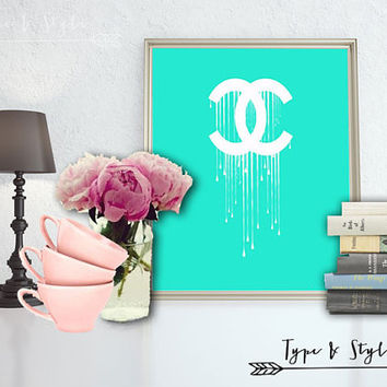 Dripping Chanel Logo Digital Download - Canvas - Poster - Print - Typography - wall art home decor - framed art - Teal - Chanel