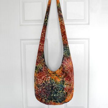 Hobo Bag Cross Body Bag Hippie Purse Sling Bag Boho Bag Slouch Bag Hobo Purse Hippie Bag Floral Hobo Bag Handmade Bag Batik Bohemian Purse