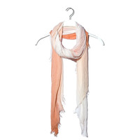 Coral degrade scarf with frayed edges