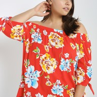 Floral Off the Shoulder Top Plus Size
