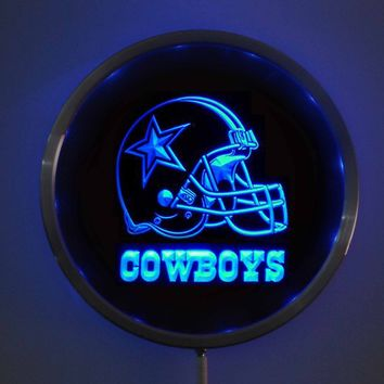 rs-b0317 Dallas Cowboys Helmet LED Neon Round Signs 25cm/ 10 Inch - Bar Sign with RGB Multi-Color Remote Wireless Control