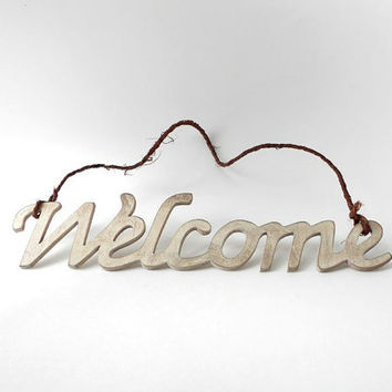 Wood Word Art Welcome Sign Hand Painted White