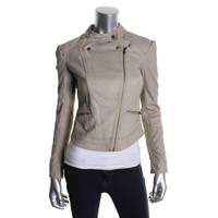 Jessica Simpson Womens Faux Leather Quilted Motorcycle Jacket